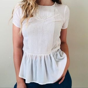 Lucky Brand white pleated blouse - SMALL